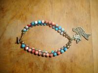 Masala Bead Bracelet (Pink/Teal)