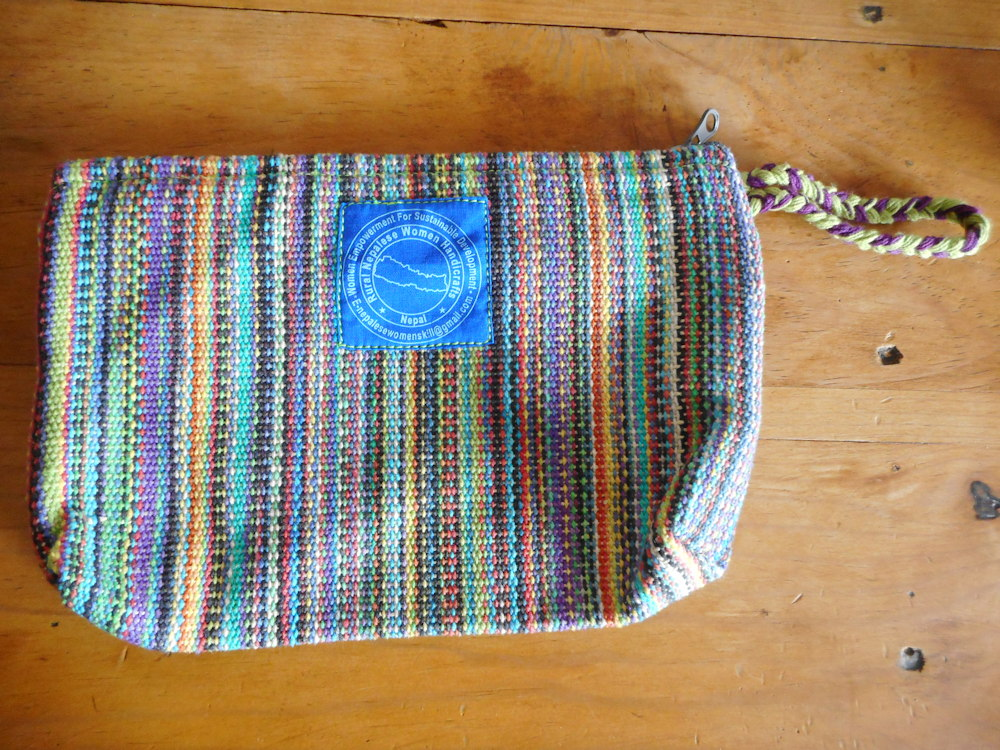 Cotton Bag (Colorful with Green/Purple Handle)